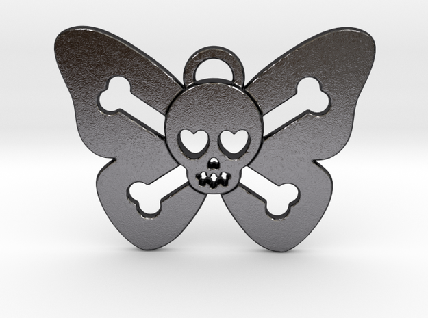 Cute Butterfly Skull in Polished and Bronzed Black Steel