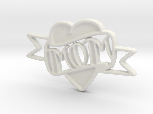 MOM Pendant in White Natural Versatile Plastic: Extra Small