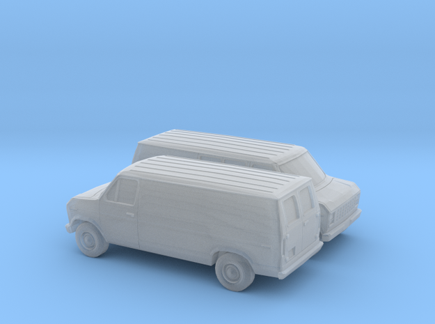 1/120 2X 1975-91 Ford E-Series Delivery Van in Smooth Fine Detail Plastic