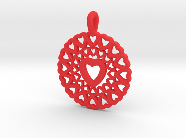 22- Double Heart Circle in Red Processed Versatile Plastic: Small