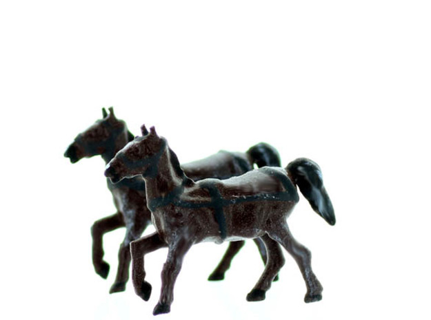 Horse with REINS O Scale in White Natural Versatile Plastic
