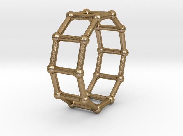 0344 Decagonal Prism V&E (a=1cm) #002 in Polished Gold Steel