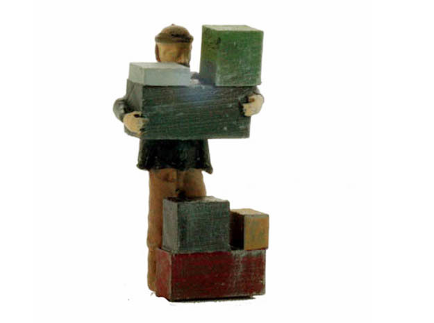 O Freight Dock WORKER Stacking Boxes Figure in Frosted Ultra Detail