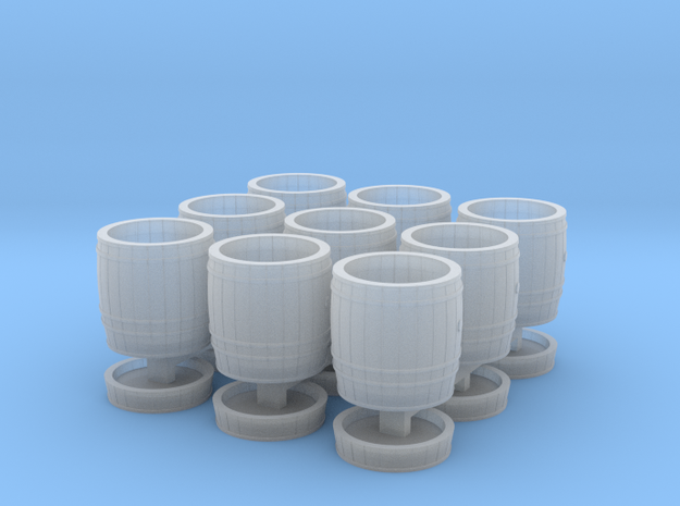 9 wooden barrels N scale in Smooth Fine Detail Plastic