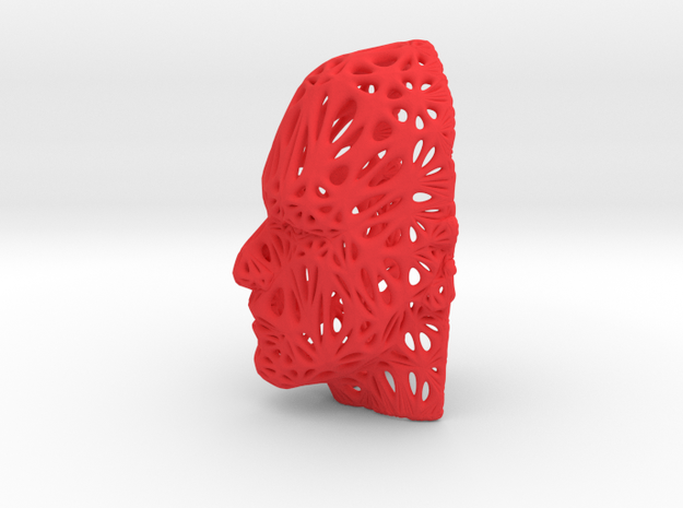 Male Voronoi Face in Red Processed Versatile Plastic