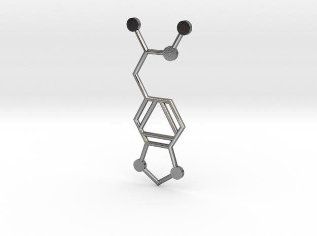 MDMA Molecule in Polished Silver
