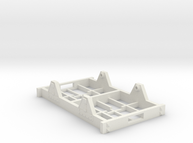 "On30 Railcar Underframe 2"" long detailed in White Natural Versatile Plastic"