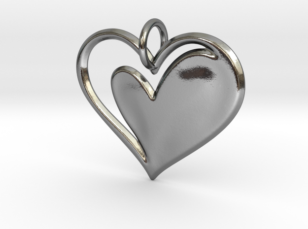 Heart to Heart Pendant V1.0 in Polished Silver