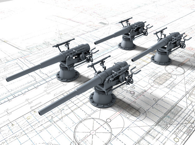 1/100 SMS Emden 10.5cm/40 SK L/40 Guns x4 in Smooth Fine Detail Plastic