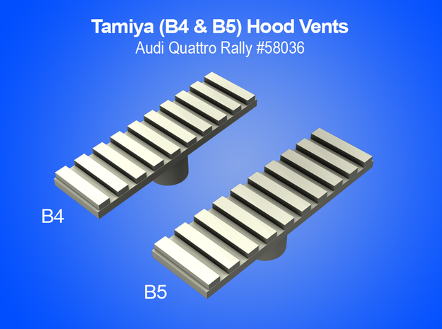 Tamiya RC Hood Vents for Audi Quattro Rally in White Strong & Flexible