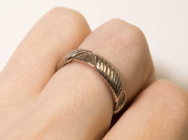 Ring T1A in Polished Bronzed Silver Steel: 10 / 61.5