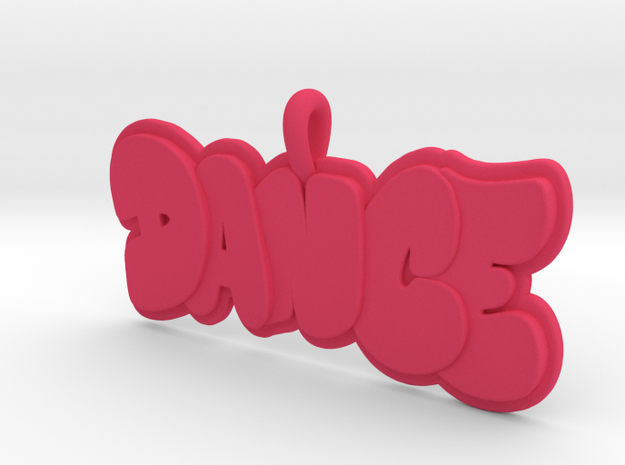 29- DANCE BUBBLE LETTERS  in Pink Processed Versatile Plastic: Small