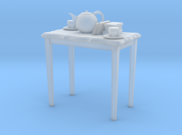 HO scale 26.5 in. height table with books & tea po