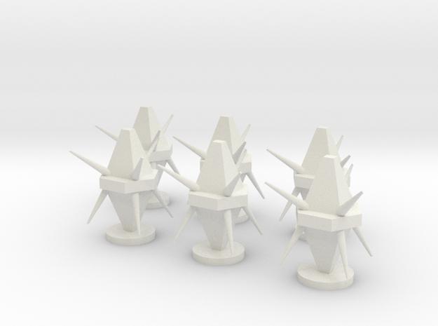 3D Mine Tokens - Mine Type B in White Natural Versatile Plastic