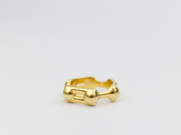 Benzene Ring Molecule Ring 3D in 18k Gold Plated: 6.5 / 52.75