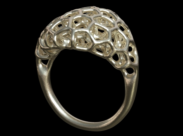 Ring Voronoi Volume II in Polished Silver
