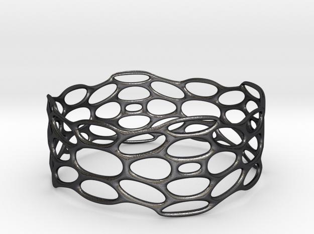 BRACELET_TIS_bracelet_CUBE_03d in Polished Grey Steel: Medium