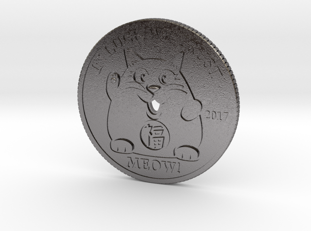 Lucky Cat Coin in Polished Nickel Steel