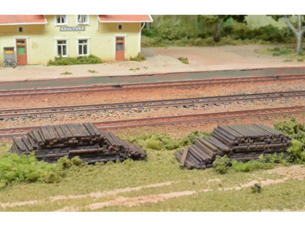 2 piles of removed sleepers (N scale) in Smooth Fine Detail Plastic
