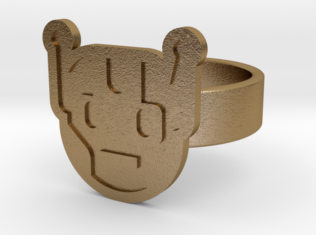 Killbot Ring in Polished Gold Steel: 10 / 61.5