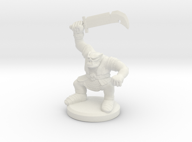 HeroQuest Orc Miniature in White Natural Versatile Plastic