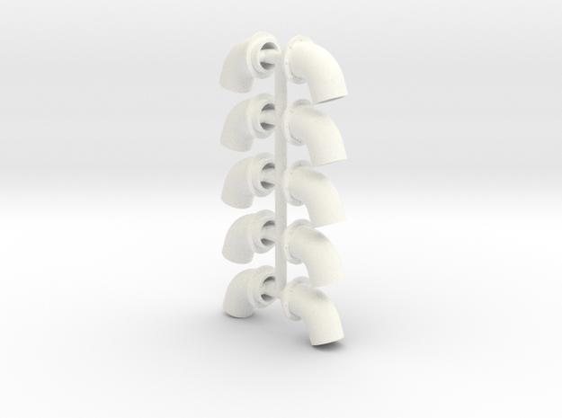 Bullhorns 1/12 4 inch 5 pr in White Processed Versatile Plastic