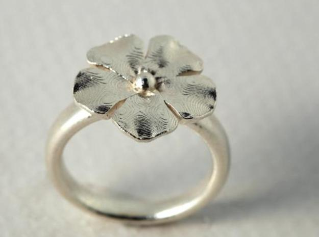 new ring flower S53 in Polished Bronzed Silver Steel