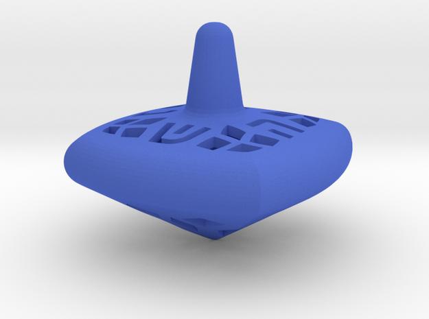 Hanukkah Dreidel - Square - Spinning Top - Medium  in Blue Processed Versatile Plastic