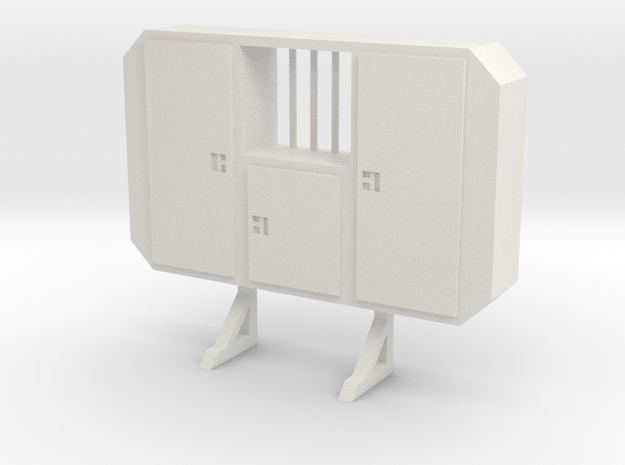 1:50 Cabinet headache rack with window in White Natural Versatile Plastic