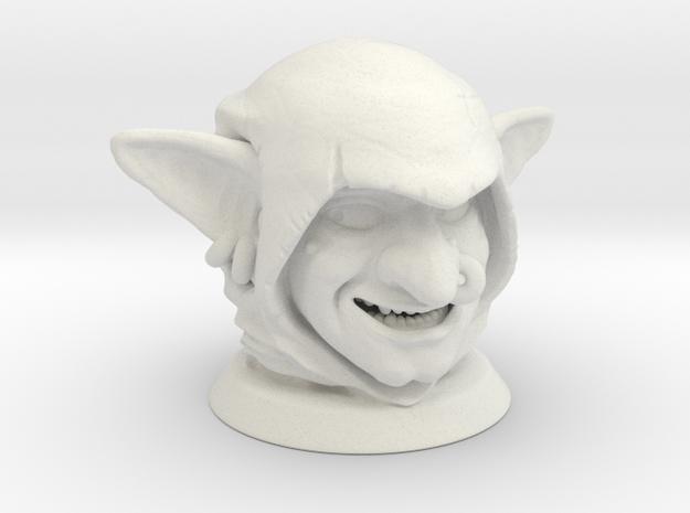 Goblin Head, Board Game Piece in White Strong & Flexible
