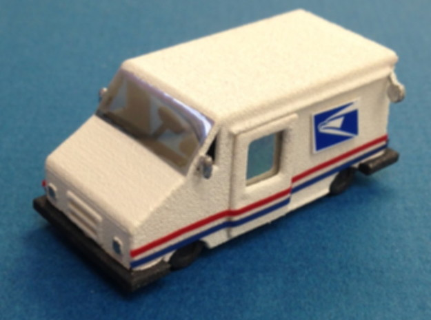 USPS Mail Delivery Truck in White Natural Versatile Plastic: 1:87 - HO