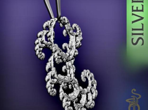 6cm Fractal lace, intricate spirals pendant 3d printed 6
