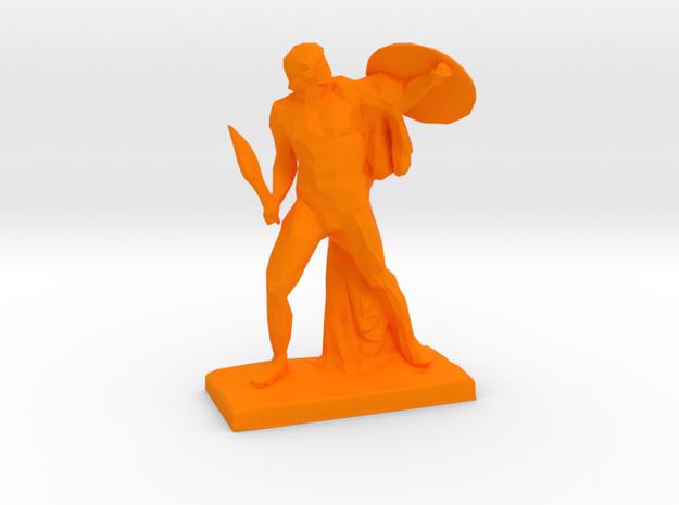 Polygonal Achilles statue in Orange Processed Versatile Plastic