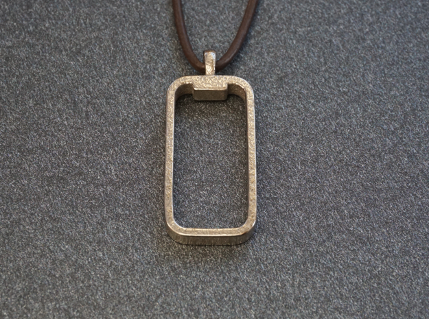 'Embrace The Notch' iPhone X Pendant / Keychain in Polished Nickel Steel