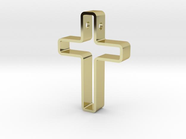 Infinity Cross Pendant in 18k Gold Plated Brass