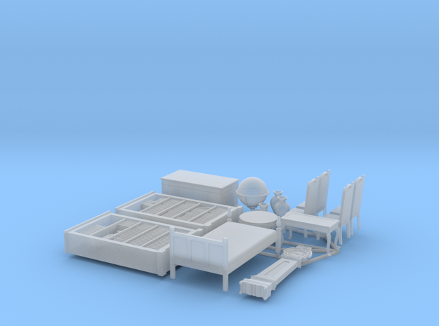 1/56th (28 mm) scale furnitures (15 pieces) in Smooth Fine Detail Plastic