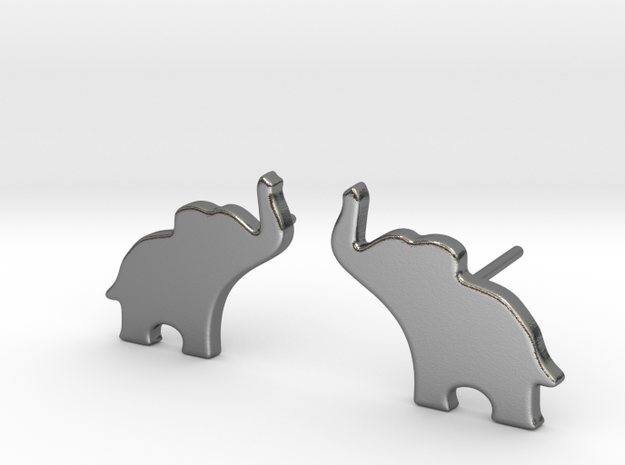 Elephant Earring in Polished Silver