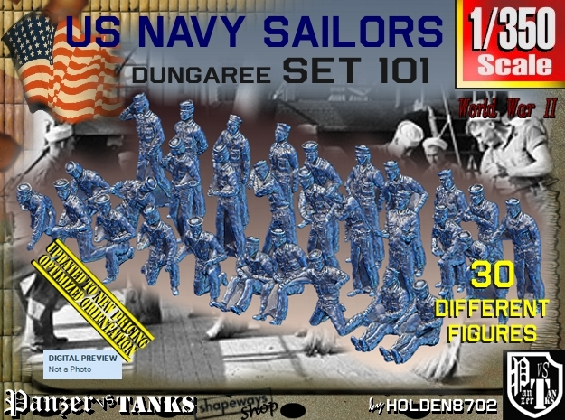 1/350 USN Dungaree Set 101 in Frosted Extreme Detail