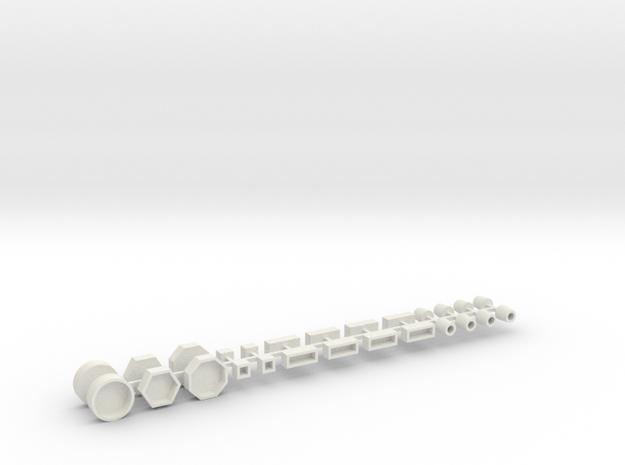 Stadtmöbelset 1 DDR 26 Teile 1:100 in White Natural Versatile Plastic