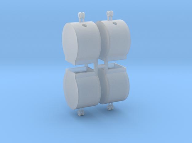 Altglascontainer Trommel 4erSet 1:76 in Smooth Fine Detail Plastic