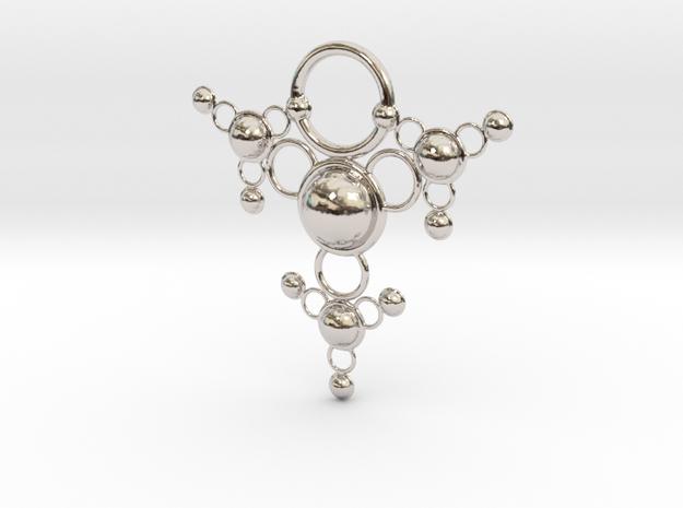 TsSys Pendant in Rhodium Plated Brass