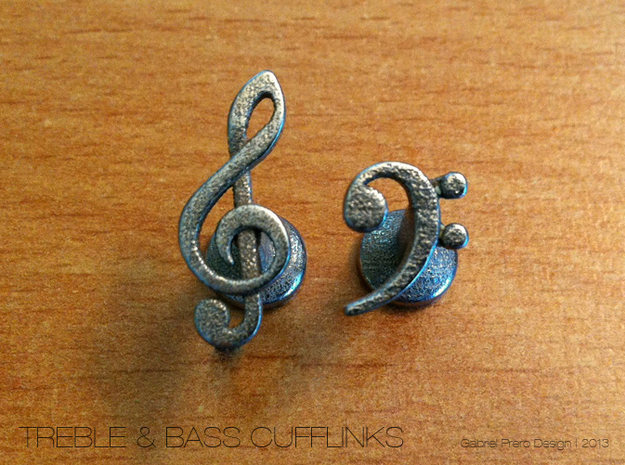 Treble and Bass Clef Cufflinks 3d printed