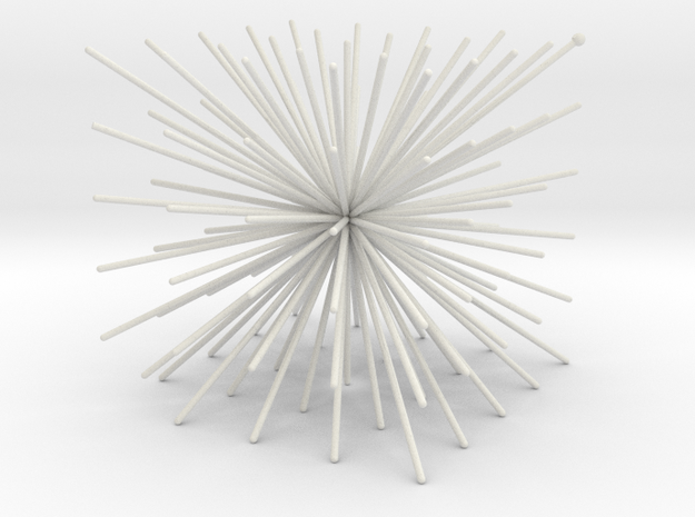 CubeOfPins1mmSphere in White Natural Versatile Plastic
