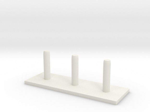 Tower of Hanoi (rods) in White Natural Versatile Plastic