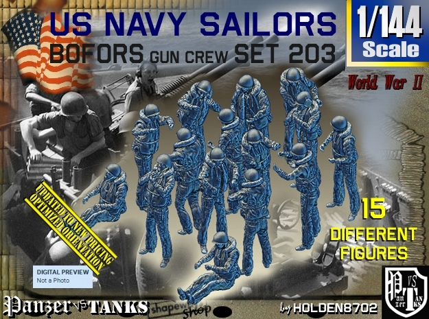 1/144 USN Bofors Set 203 in Frosted Ultra Detail