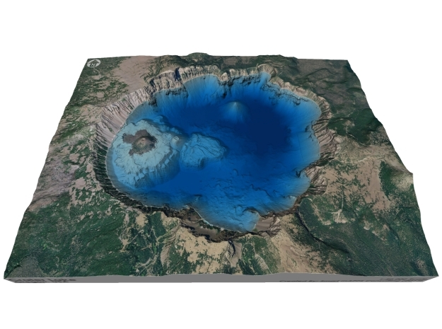 Crater Lake Bathymetry Map in Full Color Sandstone