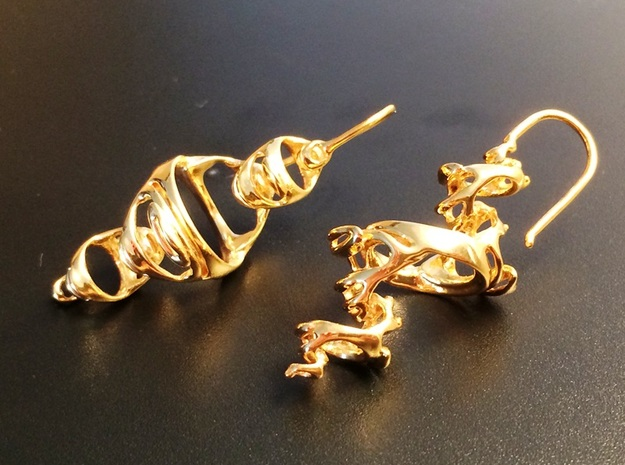 Julia Earrings 3d printed Gold Plated