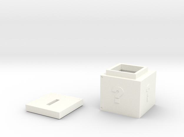 coin box Cube(with lid) in White Strong & Flexible Polished