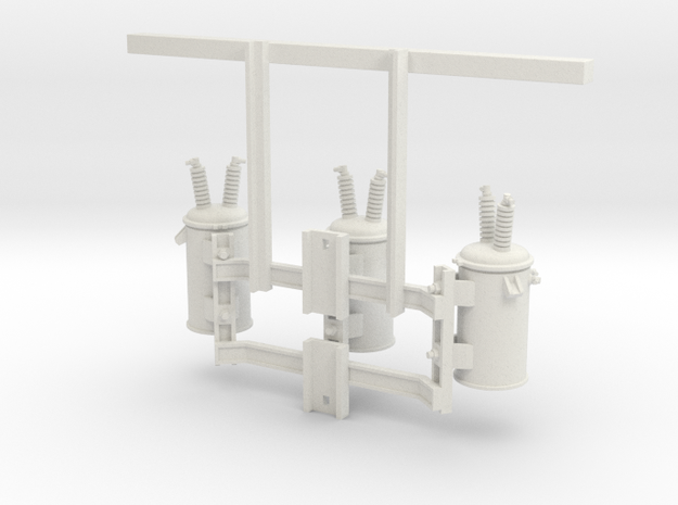 3 Phase Overhead Transformer 1:24  in White Natural Versatile Plastic