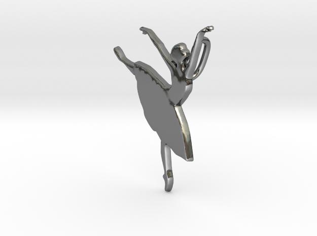 Ballet Danser Pendent  in Fine Detail Polished Silver